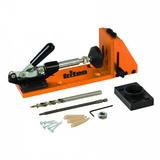 "Triton 355399 Pocket-Hole Jig 7pce with 100pk Coarse 1"" Screws and 50pk Oak Plugs Kit"