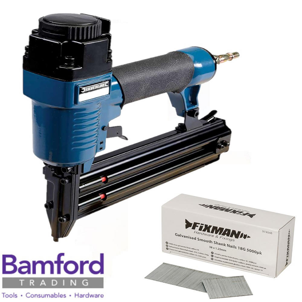 Silverline 868544 Air Brad Nailer 50mm with 5,000 Galvanised smooth shank nails
