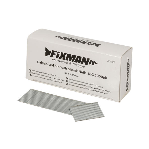 Fixman 1.25mm Galvanised Smooth 18G Shank Nails 5000 x 10mm and 5000 x 32mm Thumbnail 3