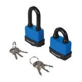 Silverline  644856 Short & Long Weather-Resistant Padlocks 2pk