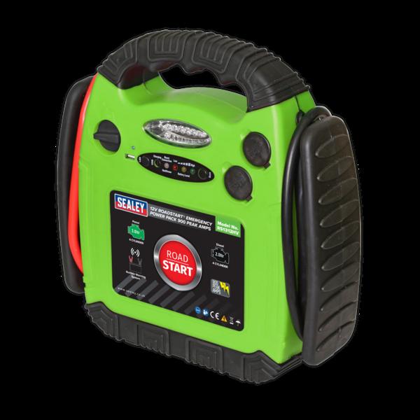 Sealey RS1312HV Roadstart Emergency Power Pack 12V 900 Peak Amps Hi-Vis Green Thumbnail 3