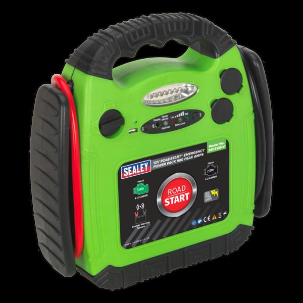 Sealey RS1312HV Roadstart Emergency Power Pack 12V 900 Peak Amps Hi-Vis Green Thumbnail 1
