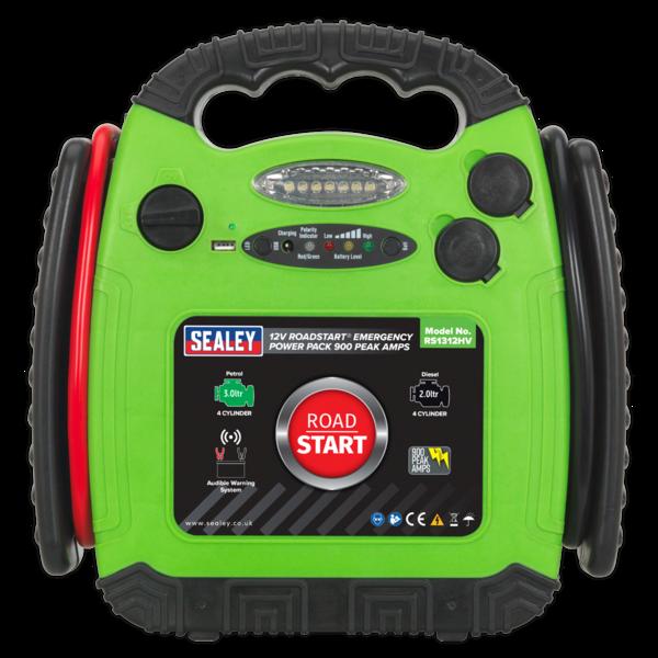 Sealey RS1312HV Roadstart Emergency Power Pack 12V 900 Peak Amps Hi-Vis Green Thumbnail 2