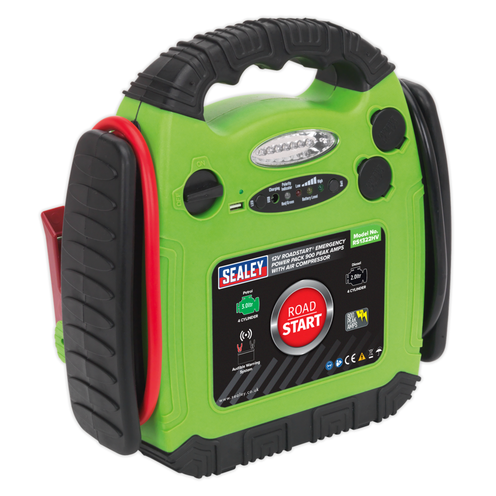 Sealey RS1322HV Roadstart Emergency Power Pack 900 Peak Amps with Air Compressor