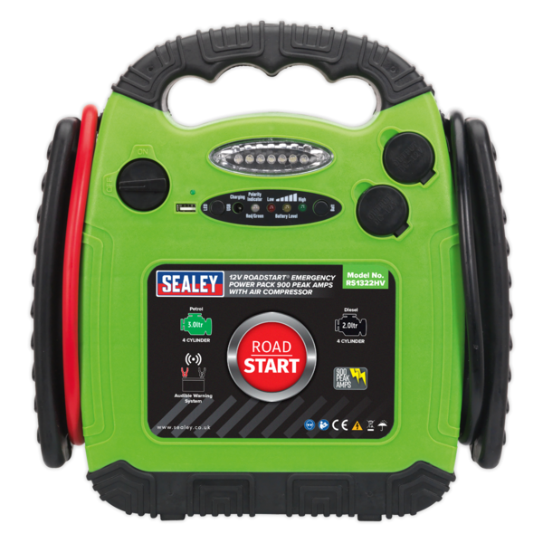 Sealey RS1322HV Roadstart Emergency Power Pack 900 Peak Amps with Air Compressor Thumbnail 2