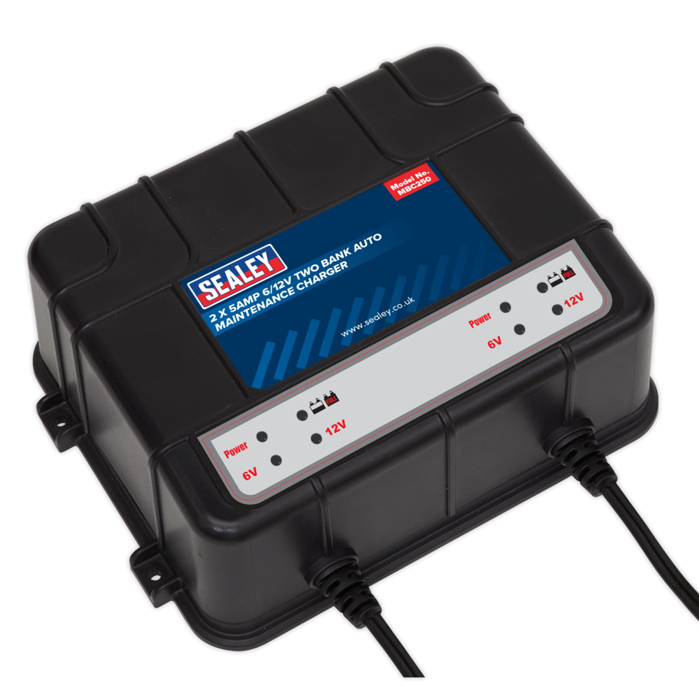 Sealey MBC250 Two Bank 6/12V 10Amp (2 x 5A) Auto Maintenance Charger