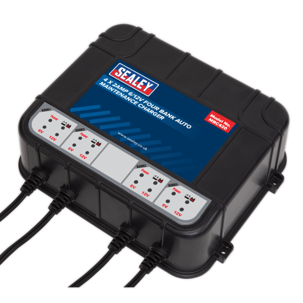 Sealey MBC420 Four Bank 6/12V 8Amp (4 x 2A) Auto Maintenance Charger Thumbnail 3