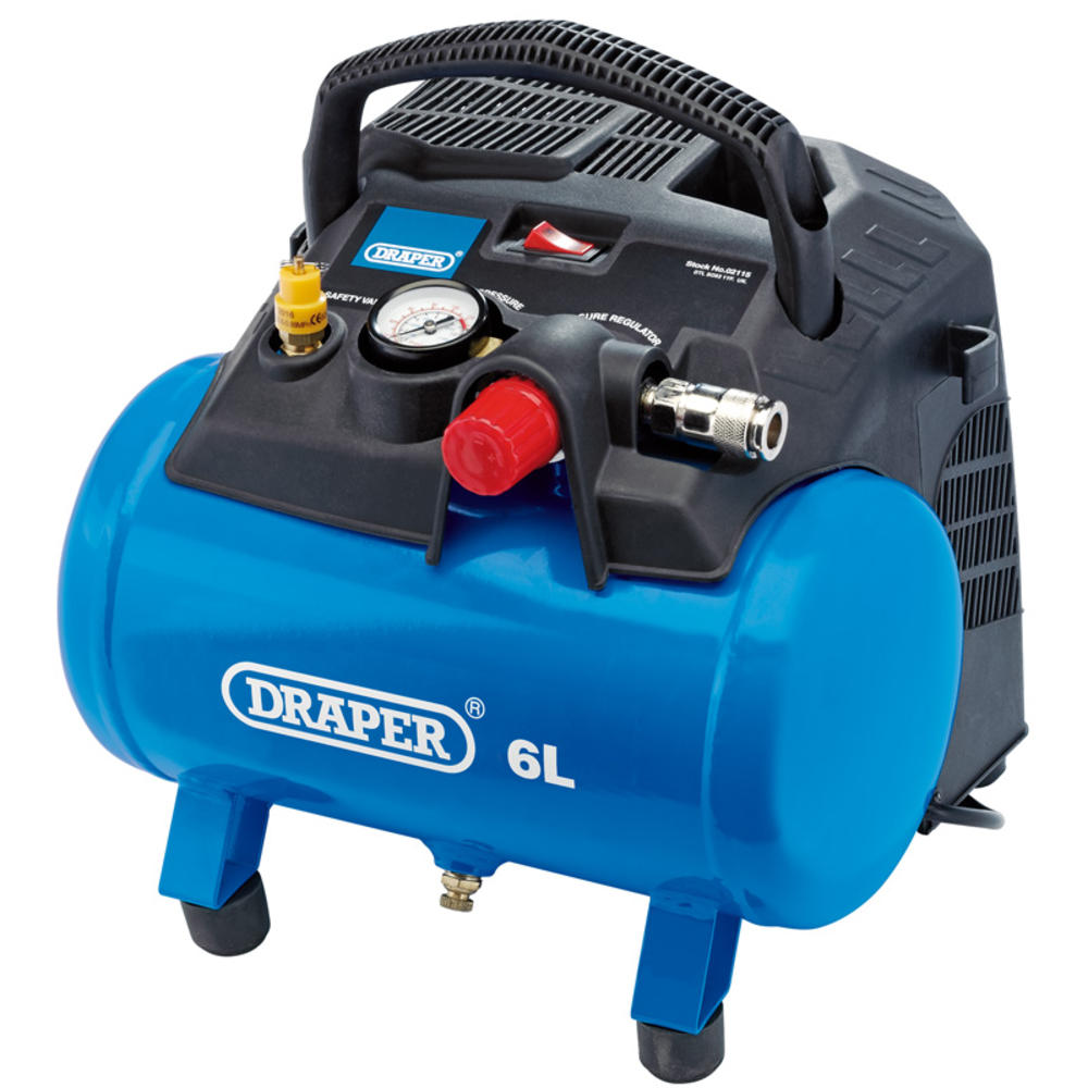 Draper 02115 DA6/180 6L Oil-Free Air Compressor (1.2kW)