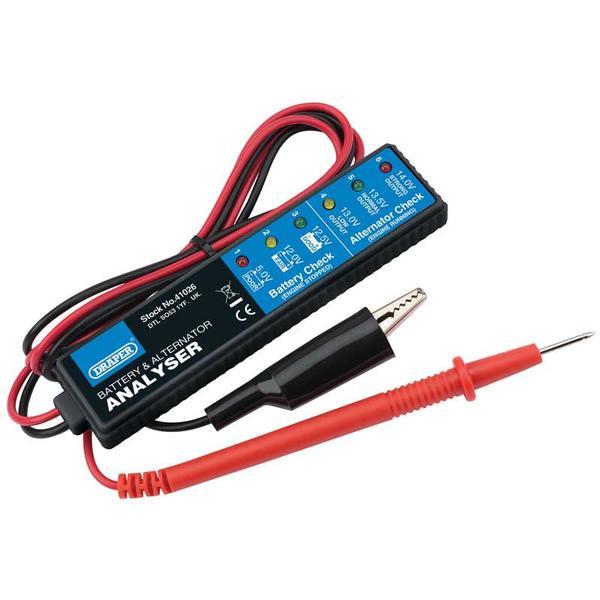 Draper 41026 1176-B Battery and Alternator Analyser for 12V DC Systems Thumbnail 1