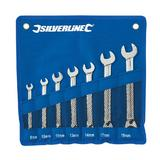 Silverline 419448 Reversible Ratchet Spanner Set (7 Piece) 8-19mm in Tool Roll