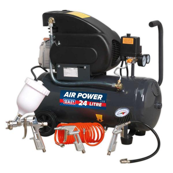 Sealey SAC2420EPK Compressor 24ltr Direct Drive 2hp with 4pc Air Accessory Kit Thumbnail 1