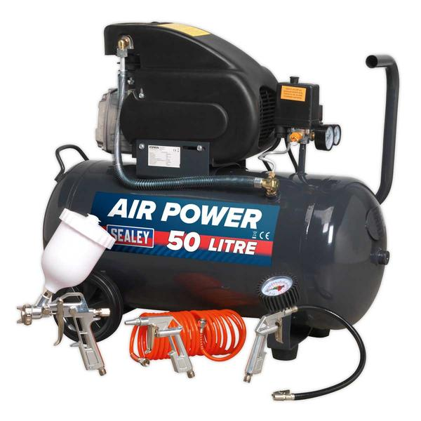 Sealey SAC5020EPK Compressor 50ltr Direct Drive 2hp with 4pc Air Accessory Kit Thumbnail 1