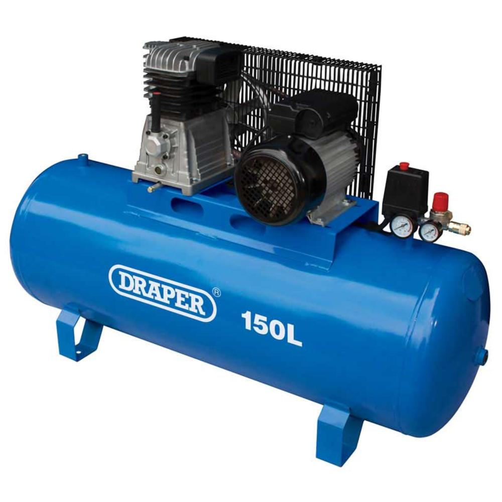 Draper 55304 DA150/369S 150L Stationary Belt-Driven Air Compressor (2.2kW)