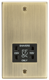 Knightsbridge 115-230V Dual Voltage Shaver Socket Square Edge Brass/Black