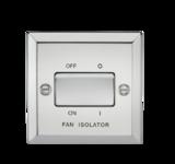 Knightsbridge 10A 3 Pole Fan Isolator Switch Bevelled Edge Polished Chrome