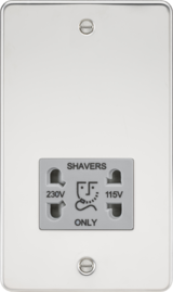 Knightsbridge Flat Plate 115/230V Dual Voltage Shaver Socket Polished Chrome/Grey