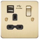 Knightsbridge Flat Plate 13A 1G Switched Socket Dual USB (2.1A) B Brass/Black