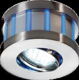 Knightsbridge Round White Centre Blue Edge LED with GU10 Satin Nickel
