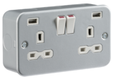Knightsbridge Metal Clad 13A 2G Switched Socket with Dual USB Charger (2.4A)