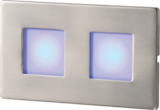 Knightsbridge S/S Recessed LED Wall Light - Twin Blue