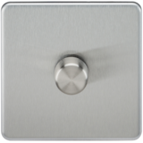 Knightsbridge Screwless 1G 2-Way 10-200W (5-150W LED) Dimmer B/Chrome