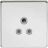 Knightsbridge Screwless 5A Unswitched Socket Polished Chrome with Grey Insert