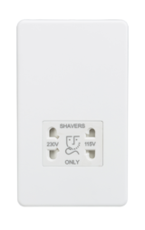 Knightsbridge Screwless 115/230V Dual Voltage Shaver Socket Matt White