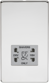 Knightsbridge Screwless 115/230V Dual Voltage Shaver Socket Polished Chrome/Grey