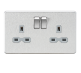 Knightsbridge Screwless 13A 2G DP Switched Socket B Chrome with Grey Insert