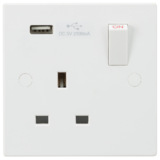 Knightsbridge 13A 1G Switched Socket with USB Charger 5V DC 2.1A