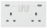 Knightsbridge 13A 2G Switched Socket with Dual USB Charger 5V DC 3.1A