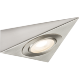 Knightsbridge 230V LED Triangular Under Cabinet Light - Brushed Chrome 3000K