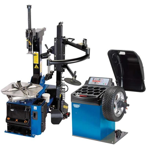 Draper 02152 Tyre Changer with Assist Arm and Wheel Balancer Kit Thumbnail 1