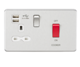 Knightsbridge 45A DP Switch & 13A Switched Socket Dual USB Br Chrome/White