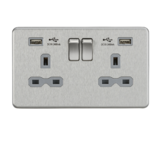 Knightsbridge 13A 2G Switched Socket Dual USB Charger Br Chrome/Grey