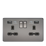 Knightsbridge 13A 2G Switched Socket Dual USB Charger Black Nickel/Black