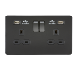 Knightsbridge 13A 2G Switched Socket with Dual USB Charger (2.4A) Matt Black