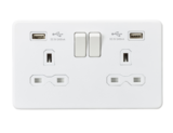Knightsbridge 13A 2G Switched Socket with Dual USB Charger (2.4A) Matt White