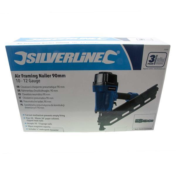 Silverline 282400 Air Framing Nailer 90mm Kit with 2200 x 3.1/90mm Ring Nails Thumbnail 5