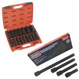 "Sealey 16Pc Impact Socket Set 1/2"" Sq Dr Deep Metric with 4Pc Extension Bar Set"