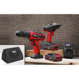 "Sealey 20V Cordless 13mm Hammer Drill & 1/2"" Sq Dr Impact Driver Combo Kit"
