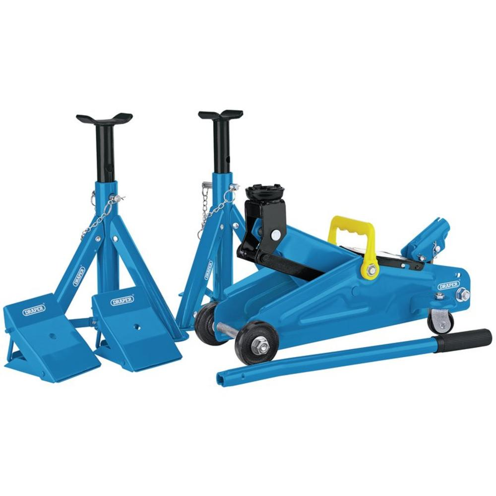 Draper 90221 2 Tonne Trolley Jack Combination Kit Mechanics Car