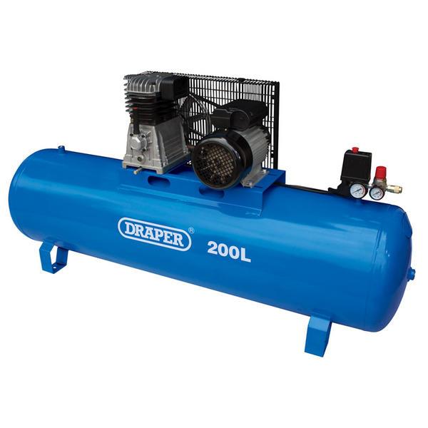 Draper 55313 200L Stationary Belt-Driven Air Compressor (2.2kW) Thumbnail 1