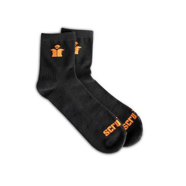Scruffs T54884 Worker Lite Socks Black Size 7-9.5 Breathable Reinforced Cushion