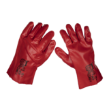 Sealey 9107 Red PVC Open Cuff Gloves One Size Fits All