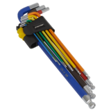 Sealey AK7198 Ball-End Hex Key Set Extra Long 9pc Colour-Coded Imperial