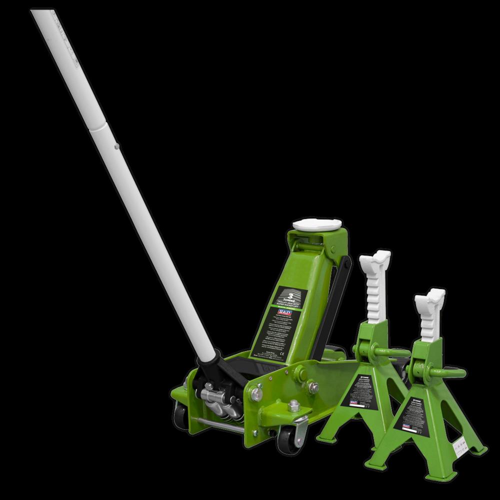 Sealey 3015CXHV Trolley Jack 3tonne Super Rocket Lift & Axle Stands Hi Vis