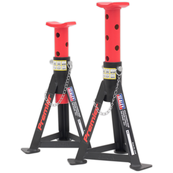 Sealey AS3R Axle Stands (Pair) 3tonne Capacity per Stand - Red Thumbnail 1