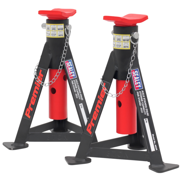 Sealey AS3R Axle Stands (Pair) 3tonne Capacity per Stand - Red Thumbnail 2