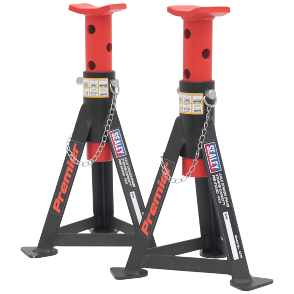 Sealey AS3R Axle Stands (Pair) 3tonne Capacity per Stand - Red Thumbnail 3
